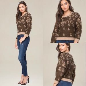 Bebe Leopard Logo Crop Crew Sweater Top M
